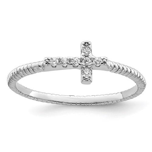 Sterling Silver Cubic Zirconia Mini Cross Ring