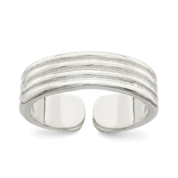 Sterling Silver Toe Ring with Ridges