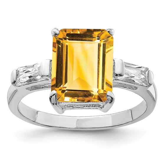 Sterling Silver Emerald Cut Citrine ring
