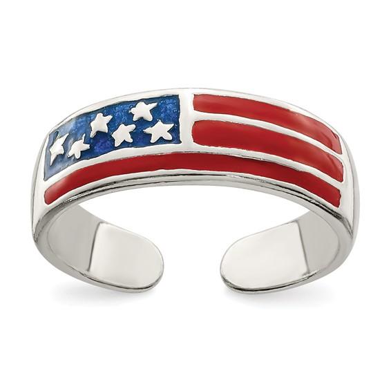 Sterling Silver Enameled USA Flag Toe Ring