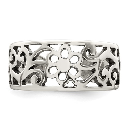 Sterling Silver Antiqued Wide Floral Toe Ring