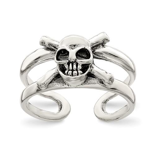 Sterling Silver Antiqued Skull Toe Ring