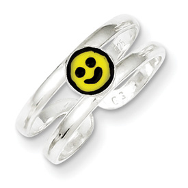 Sterling Silver Yellow Black Enameled Smiley Toe Ring