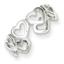 Sterling Silver Cut-out Hearts Toe Ring