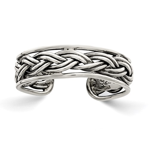 Sterling Silver Antiqued Braided Toe Ring