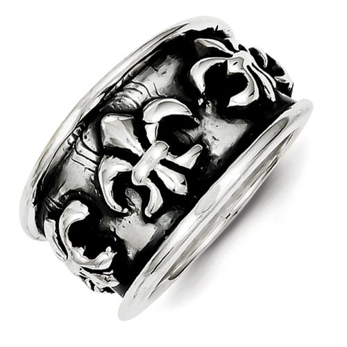 Size 6 Antiqued Fleur De Lis Ring