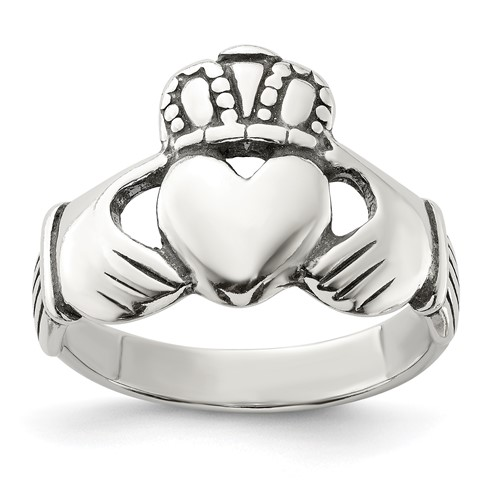 Sterling Silver Large Antiqued Claddagh Ring