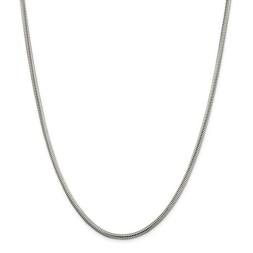 24in Sterling Silver 3mm Round Snake Chain
