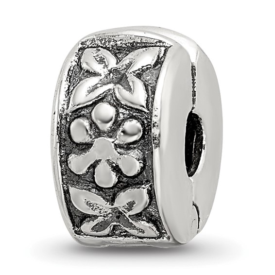 Sterling Silver Reflections Antiqued Hinged Floral Clip Bead