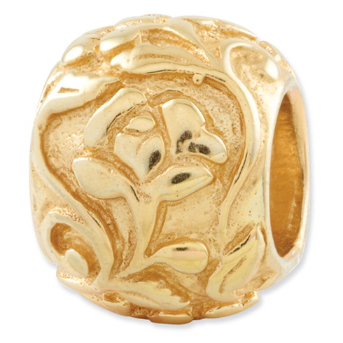 Sterling Silver Gold-plated Reflections Rose Bead