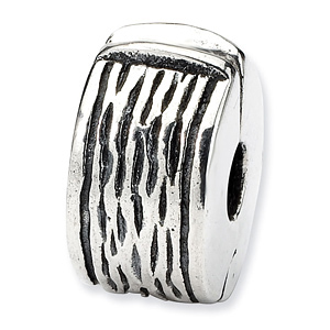 Sterling Silver Reflections Hinged Clip Bead with Grain Texture