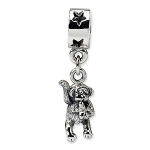 Sterling Silver Reflections Waving Monkey Dangle Bead