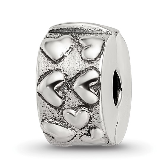 Sterling Silver Reflections Hinged Hearts Clip Bead