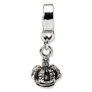 Sterling Silver Reflections Kids Crown Dangle Bead