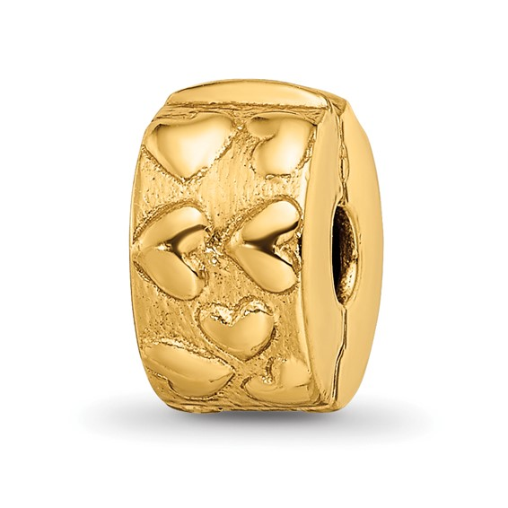 Sterling Silver Gold-plated Reflections Hinged Hearts Clip Bead