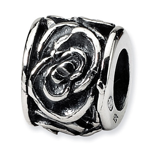 Sterling Silver Reflections Antiqued Floral Bead