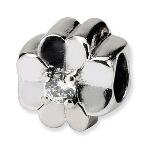 Sterling Silver Reflections CZ Clover Bead