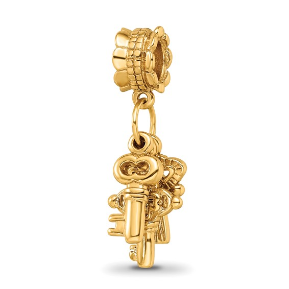 Sterling Silver Gold-plated Reflections Three Keys Dangle Bead