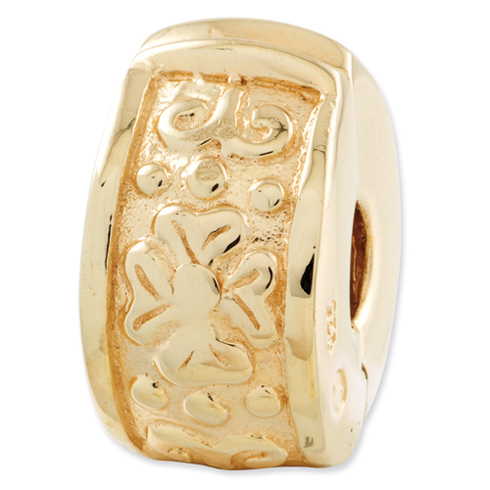 Sterling Silver Gold-plated Reflections Hinged Flower Clip Bead
