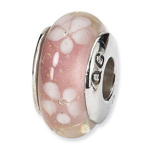 Sterling Silver Reflections Pink White Floral Hand-blown Glass Bead