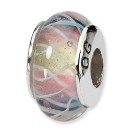 Sterling Silver Reflections Pink Lime Blue Hand-blown Glass Bead