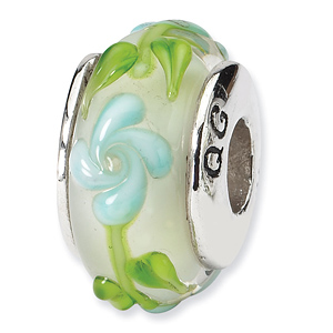 Sterling Silver Reflections Green Blue Floral Hand-blown Glass Bead