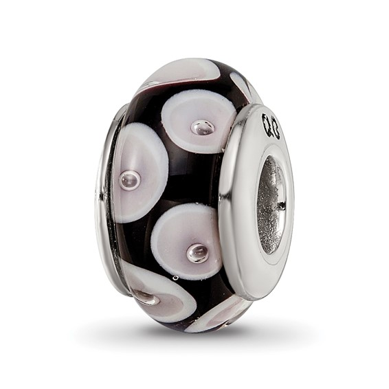 Sterling Silver Reflections Black Grey Hand-blown Glass Bead