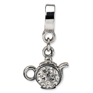 Sterling Silver Clear Crystal Teapot Dangle Bead