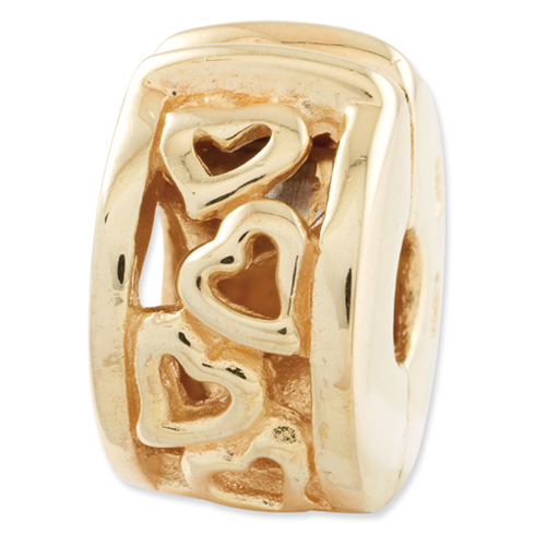 Sterling Silver Gold-plated Reflections Hinged Open Hearts Clip Bead