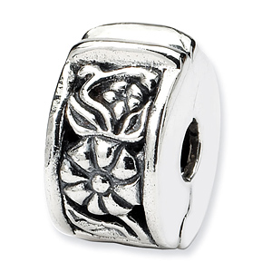 Sterling Silver Reflections Flower Hinged Clip Bead