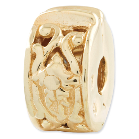 Sterling Silver Gold-plated Reflections Hinged Vines Clip Bead
