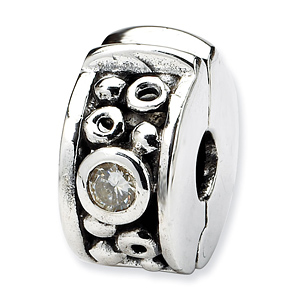 Sterling Silver Reflections Hinged CZ & Dots Clip Bead