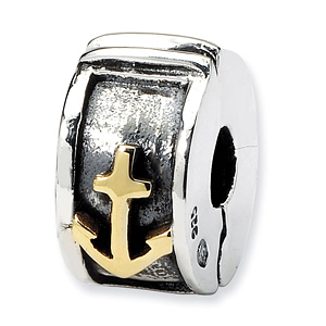 Sterling Silver & 14k Reflections Hinged Anchor Clip Bead
