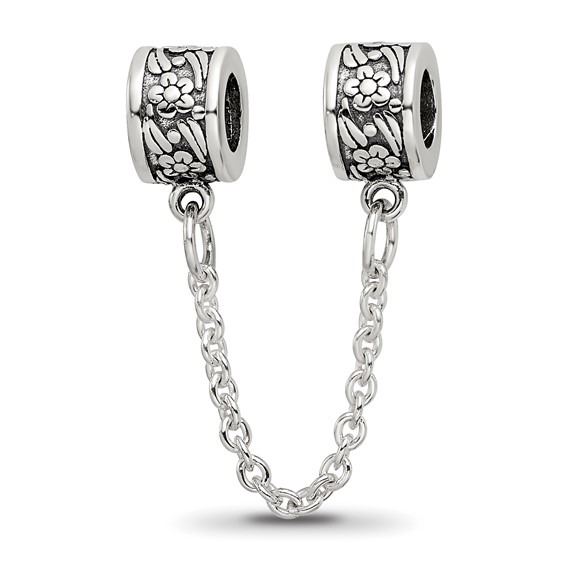 Sterling Silver Reflections Security Chain Bead with Flowers