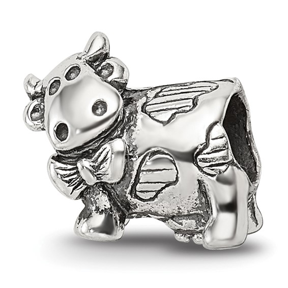 Sterling Silver Reflections Kids Cow with Bow Bead