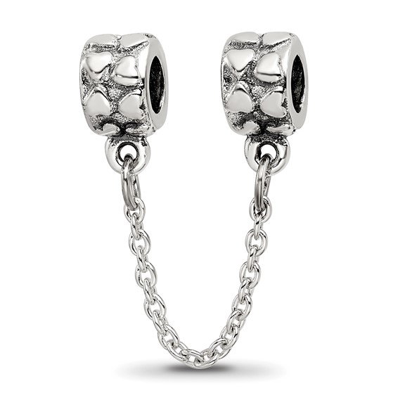 Sterling Silver Reflections Security Chain Heart Bead