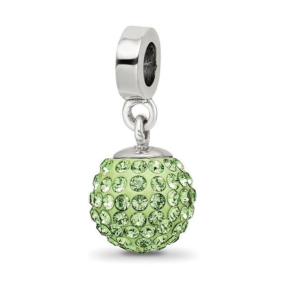 Sterling Silver Reflections Aug Swarovski Crystal Ball Dangle Bead