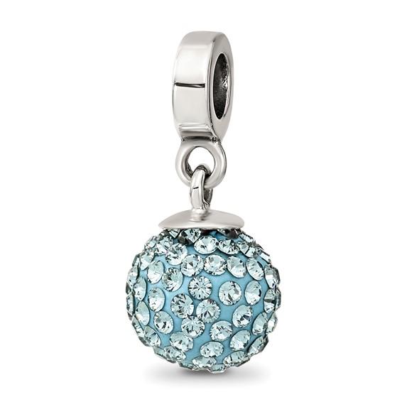 Sterling Silver Reflections Dec Swarovski Crystal Ball Dangle Bead