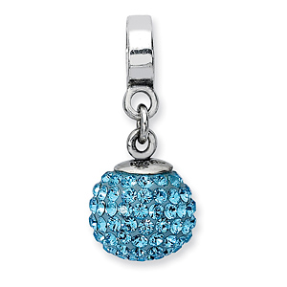Sterling Silver Reflections Mar Swarovski Crystal Ball Dangle Bead
