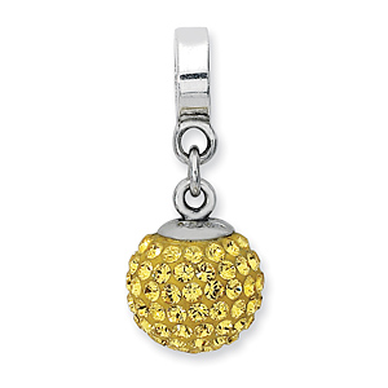 Sterling Silver Reflections Nov Swarovski Crystal Ball Dangle Bead
