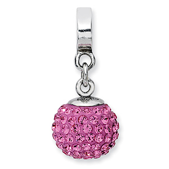 Sterling Silver Reflections Oct Swarovski Crystal Ball Dangle Bead