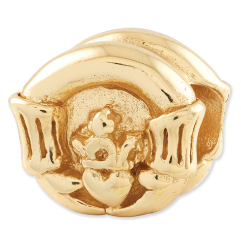 Sterling Silver Gold-plated Reflections Claddagh Bead