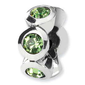 Sterling Silver Reflections Aug. Swarovski Crystal Birthstone Bead