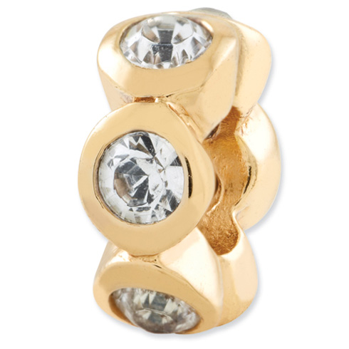Sterling Silver Gold-plated Reflections Apr Swarovski Elements Bead
