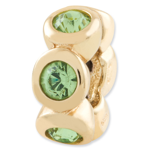 Sterling Silver Gold-plated Reflections Aug Swarovski Elements Bead