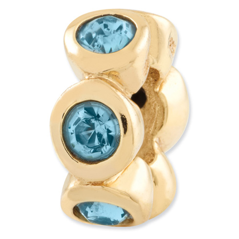Sterling Silver Gold-plated Reflections Mar Swarovski Elements Bead