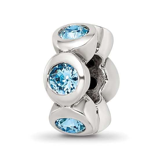 Sterling Silver Reflections March Swarovski Crystal Birthstone Bead