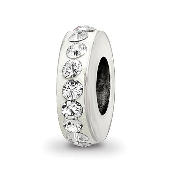 Sterling Silver Single Row White Swarovski Crystal Bead