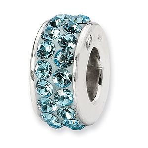 Sterling Silver Reflections Mar Double Row Swarovski Crystal Bead