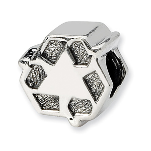 Sterling Silver Reflections Recycle Symbol Bead